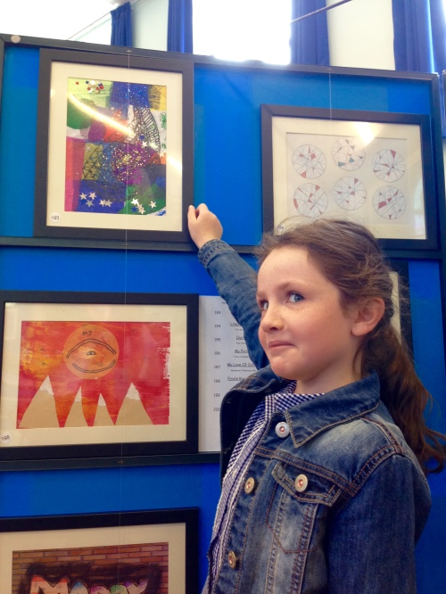 Lydia being a bit camera shy in front of her 'Paisley' piece.